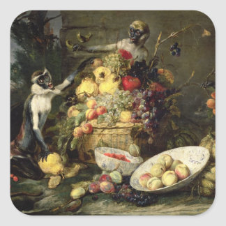 Three Monkeys Stealing Fruit (oil on canvas) Square Sticker
