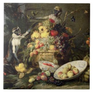 Three Monkeys Stealing Fruit (oil on canvas) Tile