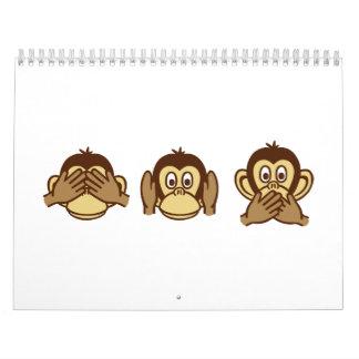 Three monkeys calendar