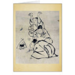 Three monks or travelers lighting a fire greeting cards