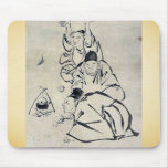 Three monks or travelers lighting a fire mouse pad