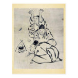 Three monks or travelers lighting a fire postcard