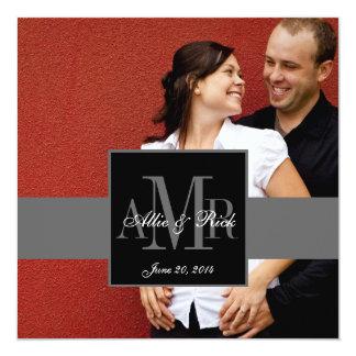 Three Monogram Couple Photo Wedding Invitation