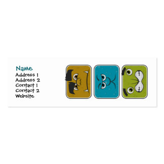 Three Monster Faces Profile Card Template Double-Sided Mini Business Cards (Pack Of 20)