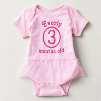 Three Months Old Personalized Pink Baby Girl Tutu Baby Bodysuit