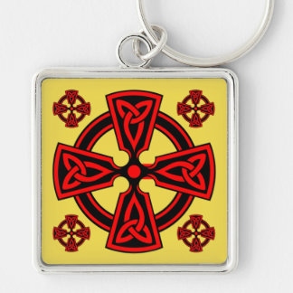 Three Moon Red Cross Premium Square Keychain
