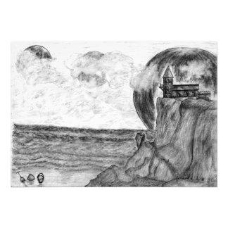 Three Moons A Day at The Beach, Pencil Drawing Photo Print