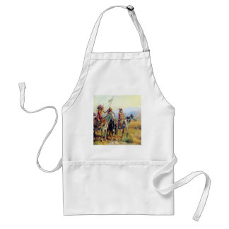 three mounted Indians Adult Apron