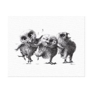 Three moved owls gallery wrapped canvas