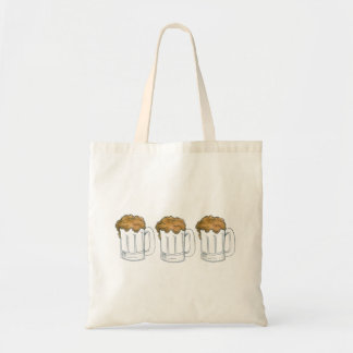 Three Mugs Foam Beer Mug Beers Ale Tavern Tote