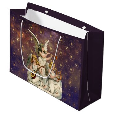 Christmas Themed Three Musical Angels Against Purple Sky and Stars Large Gift Bag