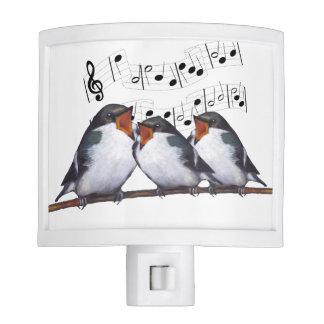 Three Musical Singing Birds, With Notes Night Light