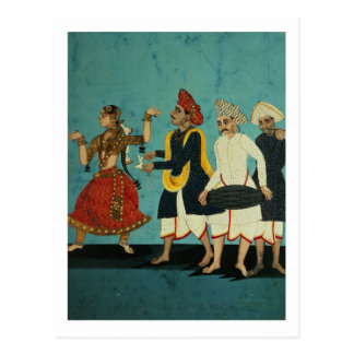 Three musicians and a dancing girl, Tanjore, Tamil Postcard