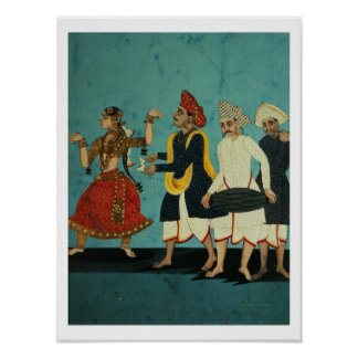 Three musicians and a dancing girl, Tanjore, Tamil Poster