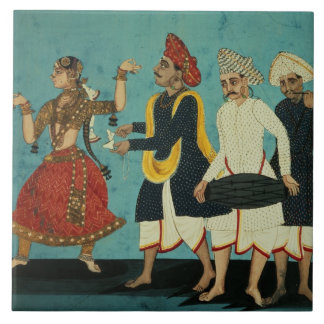 Three musicians and a dancing girl, Tanjore, Tamil Tile