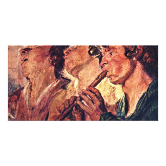 Three Musicians By Jordaens Jacob (Best Quality) Custom Photo Card