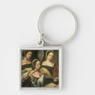 Three Musicians Silver-Colored Square Keychain