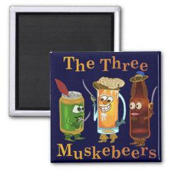 Three Muskebeers Funny Beer Pun Refrigerator Magnet