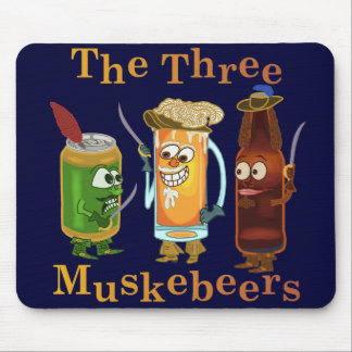 Three Muskebeers Funny Beer Pun Mouse Pad