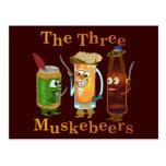 Three Muskebeers Funny Beer Pun Postcard