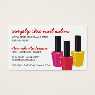Three Nail Polish Bottles Nail Salon Business Card