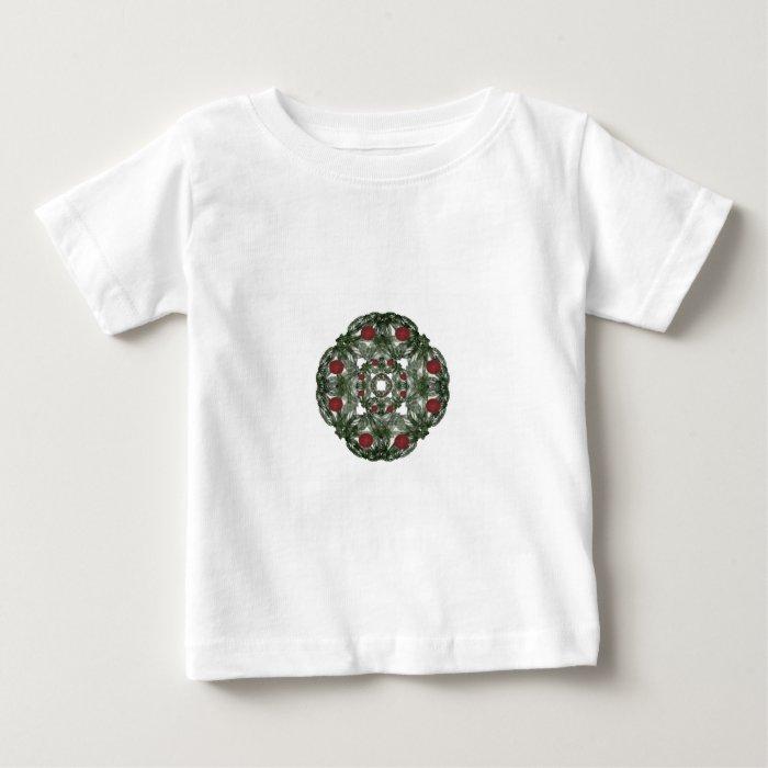 Three Nested Fractal Art Christmas Wreaths Baby T-Shirt