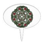 Three Nested Fractal Art Christmas Wreaths Oval Cake Topper