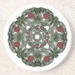Three Nested Fractal Art Christmas Wreaths Beverage Coaster