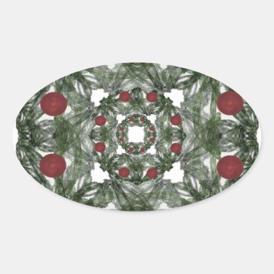 Three Nested Fractal Art Christmas Wreaths Oval Sticker