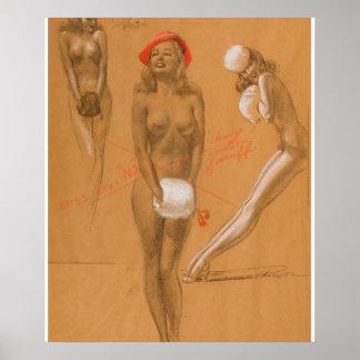Three Nudes Pin Up Art Poster