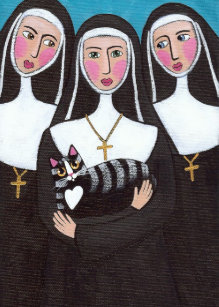 Nun with cat cards greeting photo cards zazzle three nuns a cat greeting cards m4hsunfo