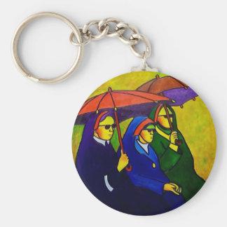 Three Nuns by piliero Basic Round Button Keychain