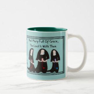 "Three Nuns Kneeling ""Hail Mary Full Of Grace"" Two-Tone Coffee Mug"