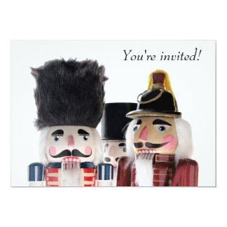 Three nutcrackers Christmas party 5x7 Paper Invitation Card