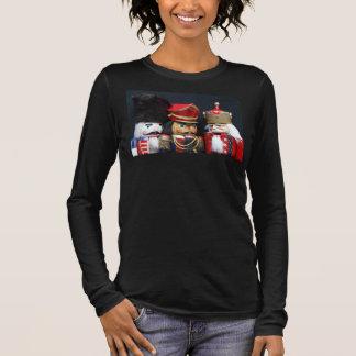 Three nutcrackers on black Bella 3/4 sleeve tshirt