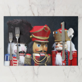 Three Nutcrackers On Dark Background Paper Placemat at Zazzle
