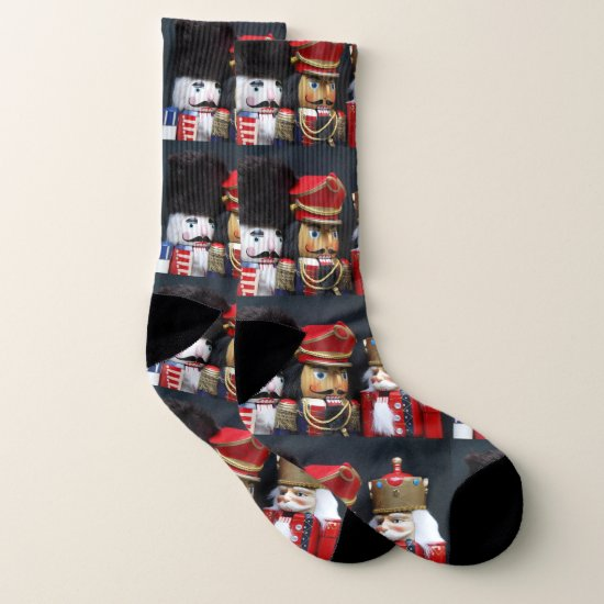 Three nutcrackers on dark background socks