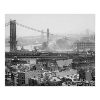 Three NYC Bridges: early 1900s Poster