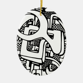 three O Ceramic Ornament