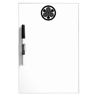 Three oak leaves with swords in circle dry erase board