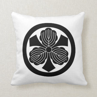 Three oak leaves with swords in circle throw pillow