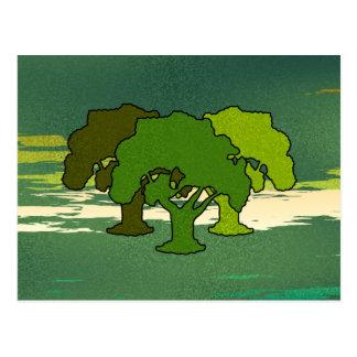 THREE OAK TREES POSTCARD