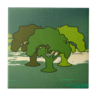 THREE OAK TREES SMALL SQUARE TILE