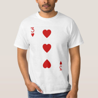 Three of Hearts Playing Card Tee Shirt