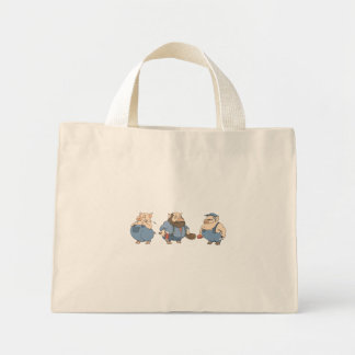 three old pigs canvas bag