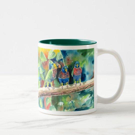 Three On A Branch Two-Tone Coffee Mug