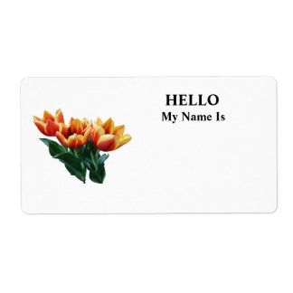 Three Orange and Red Tulips Personalized Shipping Labels