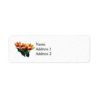 Three Orange and Red Tulips Return Address Label