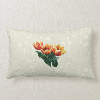 Three Orange and Red Tulips Throw Pillows