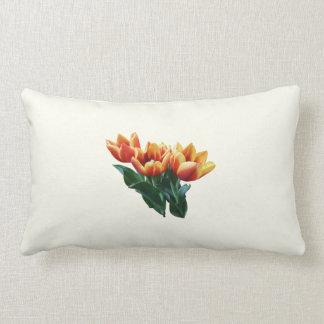 Three Orange and Red Tulips Pillow